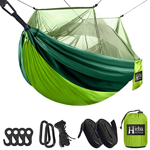 Hieha Double & Single Camping Hammock with Mosquito Net Tree Hammocks, Portable Travel Hiking Outdoor Hammock for Camping, Backpacking, Survival, Parachute Nylon Hammock Easy Assembly The Netting
