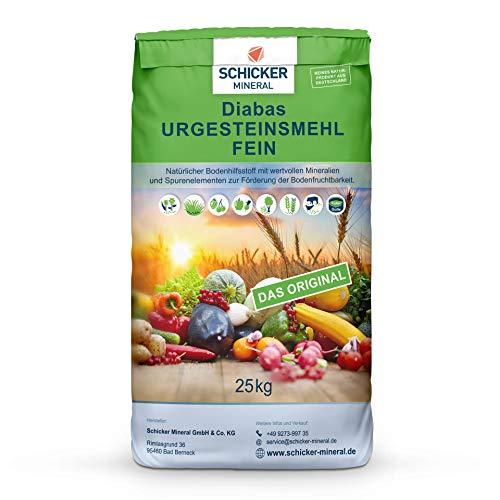 Schicker Mineral feines Diabas Urgesteinsmehl 25 kg, reines Gesteinsmehl für Ihren Garten zur Bodenverbesserung & Pflanzenstärkung ohne weitere Zusätze,...