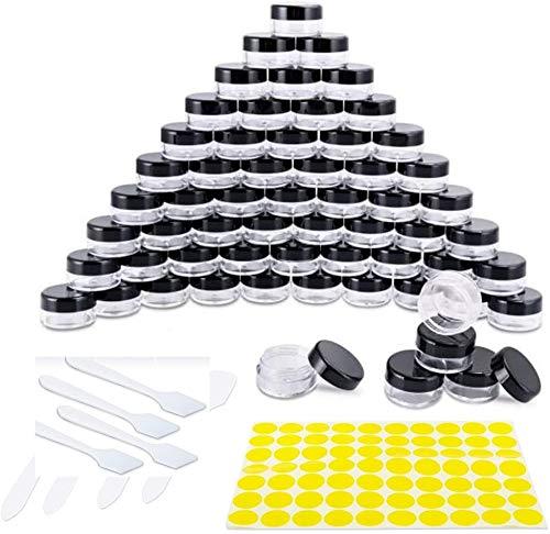 Qoosea Contenitori Cosmetici, 60 Pezzi 5g / 5ml Vasetti Barattolo di Plastica Vuoto Contenitore Cosmetico,e Etichette y Spatole, Trasparente, per Creme, mini candele,Campione Make-up