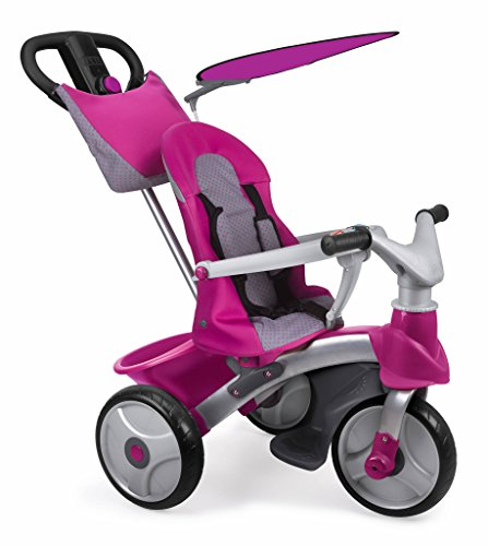 Famosa 800012146 - Baby Plus Music Prime, evolution driewieler met muziek Baby Trike Easy Evolution Pink Rose roze