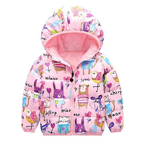 Foyeria Coat Outerwear Down Jacket Winter For Baby Boys Girls Warm Puffer Windproof Winter Coat (24M, Pink)