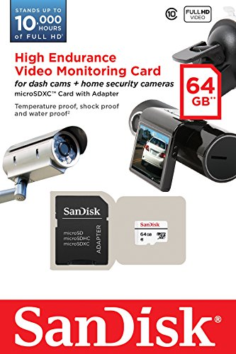 SanDisk High Endurance Video Monitoring Card with Adapter 64GB (SDSDQQ-064G-G46A), White