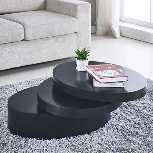 Round Black Coffee Table Rotating Contemporary 3 Layers Living Room Furniture Buy Online In Grenada At Grenada Desertcart Com Productid 87059054