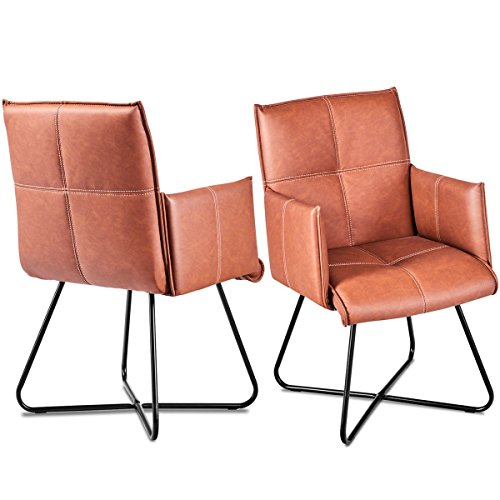 Giantex 2Pcs Dining Chairs Leisure Accent Armchairs PU Leather Home Reception Chairs Guest Side Chairs w/Padded Seat Metal Crossed Legs, Tan