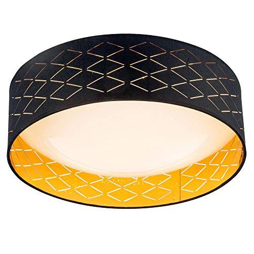 Lámpara de techo LED de color blanco, altura de la pantalla 12 cm, tela negra 18 W, color dorado, eficiencia energética: A
