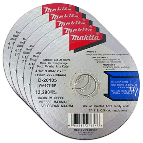 Makita 5 Pack - 4.5' Cut Off Wheels For 4.5' Grinders - Aggressive Cutting For Metal & Stainless Steel/INOX - 4-1/2' x .045' x 7/8-Inch