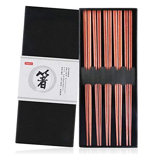 Gimars - Palillos para Comer Ramen, Sushi, etc. (5 Pares, Palillos Reutilizables, 23 cm, Palillos japoneses Naturales, Madera para vajilla China) (C)