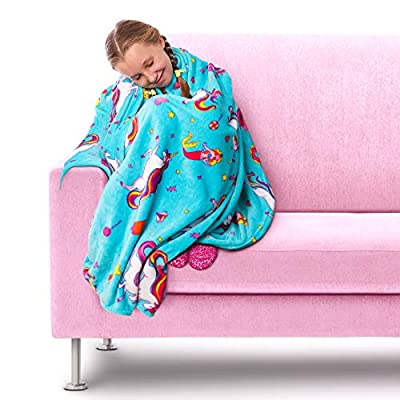GirlZone Unicorn Fleece Blanket Throw Blanket for Girls, Room Decor - Super soft and fluffy fleece blanket for fun girls unicorn room decor. Unique GirlZone unicorn print covered in unicorns, mermaids and sweet treats. Measures 46 inches by 67 inches by 0.2 inches. - living-room-decor, living-room, home-decor - 51F+ PXRIaL. SS400  -