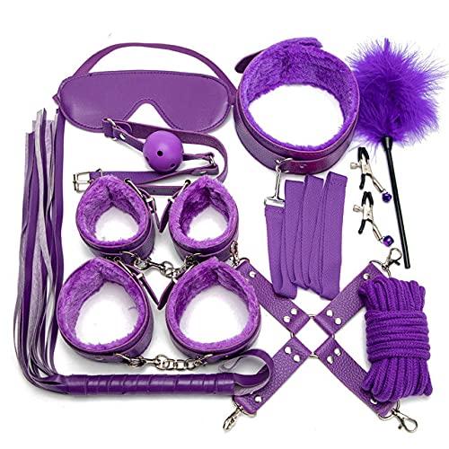 Juego de 10 piezas de sujeción fetiche, violeta