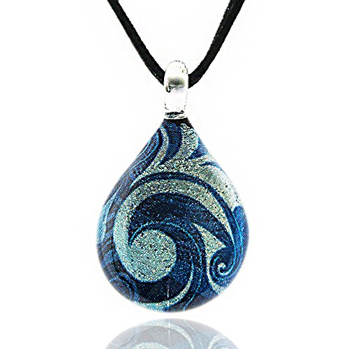 CHUVORA Hand Blown Murano Glass Glitter Blue Sea Wave Teardrop Pendant Necklace, 17-19 inches