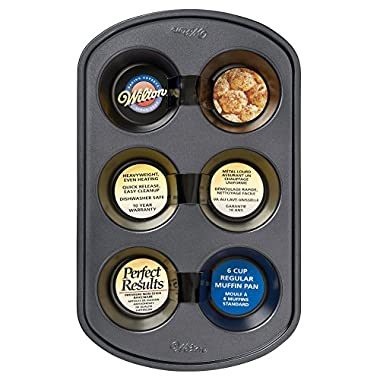 Wilton 2105-6788 Perfect Results Nonstick 6-Cup Muffin Pan