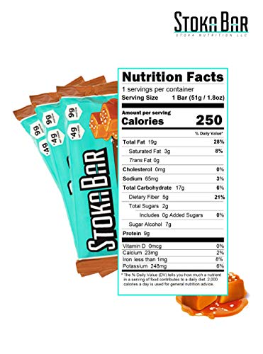 Stoka Bars- Sea Salt Caramel | All Natural- Low Carb Energy Bar | 4g Net Carbs | 9g Protein| Low Carb| High Protein | Keto Friendly | Paleo Friendly | 8 Count