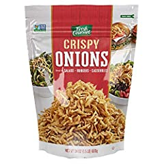 Our Fresh Gourmet crispy onions come in a 24 Ounce resealable bag Great use on variety dishes. Our crispy onions add a burst of flavor & crunchy topping to salads, wraps, casseroles, burgers and more Made from fresh onions and have the flavor and cru...