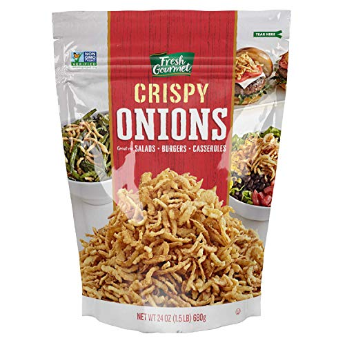 Fresh Gourmet Crispy Onions | 24 Ounce | Low Carb | Crunchy Snack and Salad Topper