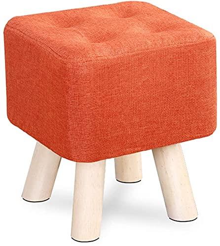 Yuansr 4 Patas de Madera para la Sala de Estar y la Silla de Dormitorio para la Sala de Estar y el Dormitorio, el Taburete tapizado de Madera Cambiar los Zapatos Taburete (Color : Orange)