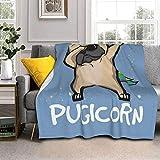Divertida manta de lana de cordero Pugicorn de piel de zorro plateada, manta ultrasuave para sofá, cama, hombres, mujeres y bebés