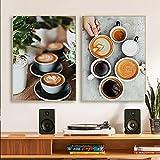 Cocina Latte Lienzo Pinturas Café Cartel Mural Postre Café Restaurante Salón Imagen Dormitorio Arte de la pared Decoración Impresiones 50x70cmx2pcs Sin marco