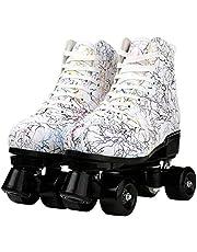 Rolschaatsen Leder High-top Skate Voor Volwassenen Outdoor Schaatsen Licht-Up Vierwielige Rolschaatsen Glanzende Rolschaatsen Voor Dames Heren Jongen Meisje