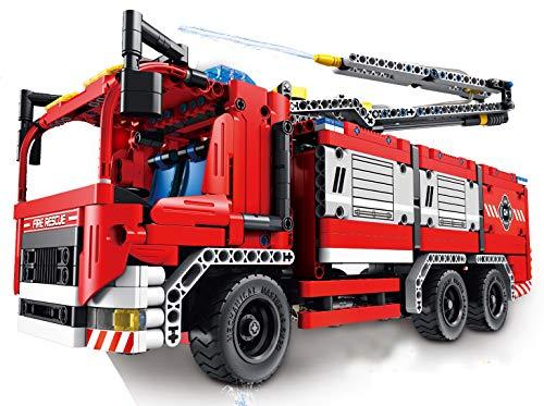 Modbrix Technik Bausteine Feuerwehr Feuerwehrauto mit 2 Wasserspritzen, 1288 Klemmbausteine