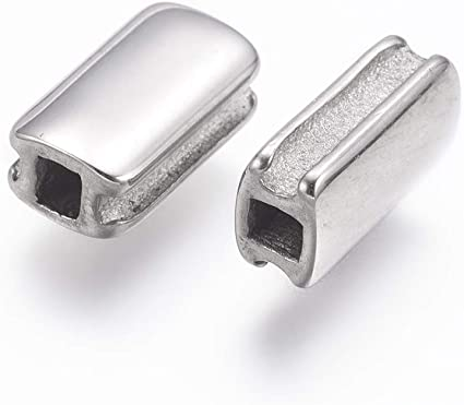 10 Pieces 8x3mm Stainless Steel Rectangle Beads Hypoallergenic