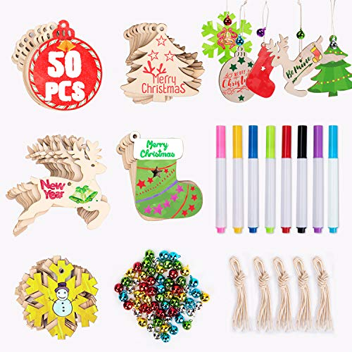 Joyjoz 50Pcs Easter Christmas Wooden Ornaments Unfinished, 5 Styles Craft Wood Kit for Crafts Christmas Ornaments DIY Crafts with 8 Markers and 60 Jingle Bells