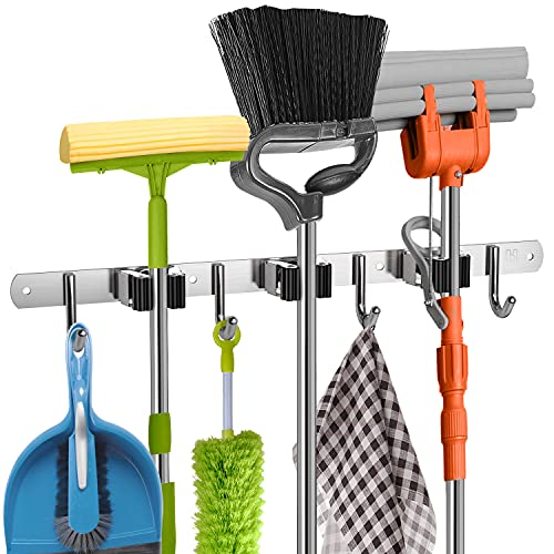 Product Image of the Mop and Broom Holder Wall Mount Heavy Duty - Metal Broom and Mop Holder Wall Mounted Storage - Broom Organizer for Kitchen Closet Garage Garden Tool - 3 Broom Hanger Positions with 4 Broom Rack Hooks