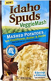 Contains 10 - 3.74oz Veggie Mash Cauliflower Butter & Herb Packs 2 Vegetable Servings per Pouch Made with Real Cauliflower 4 Servings in 4 Minutes Gluten Free & No Artifical Flavors