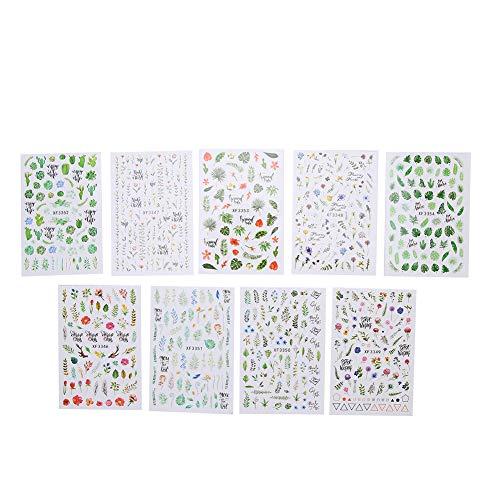 Nail Art Decoration, Nail Decor, 9pcs Temporary Nail Stickers Nail Art Sticker Beauty Salon Home Use For Nails