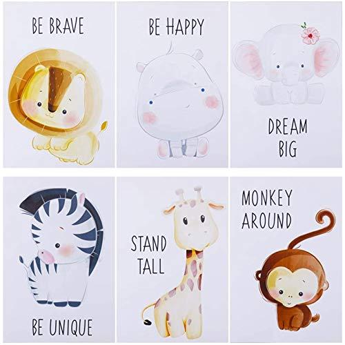 fanshiontide 6 Stück Tiere Kinderzimmer Babyzimmer Dekoration Bild Junge Mädchen Poster A4 Waldtiere Safari Afrika Tiere Tier Poster Dekoration - Kein Rahmen