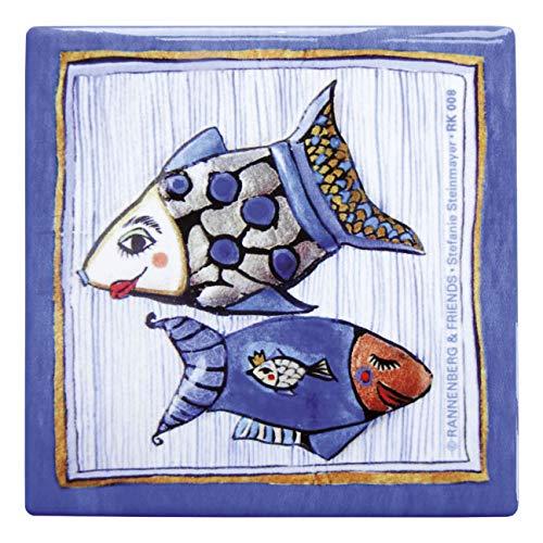 Rannenberg & Friends Untersetzer Kachel Porzellan 10,8 x 10,8 cm Fisch mit Nadelstreifen Stefanie Steinmayer Unterseite mit Kork