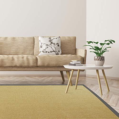 Floordirekt Premium Sisal-Teppich Amazonas   Natur   Mit verschiedenfarbigen Bordüren   9 Größen   Wohnzimmerteppich, Naturfaserteppich (Graphit, 200 x 240 cm)
