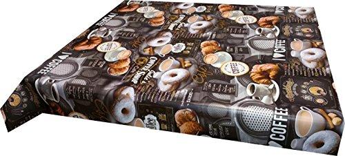Ilkadim Wachstuch Tischdecke 140 x 160cm Motiv Kaffee Donuts Croissants, abwaschbar