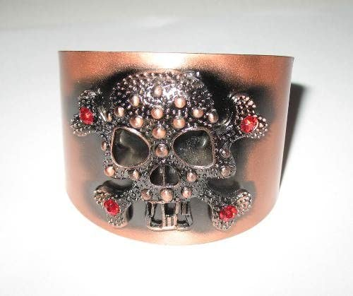 Roger Enterprises Wide Skull and Bones Coppertone Cuff Bracelet Perfect As Holloween Costume's Accessary