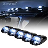 Xprite 12 LED White LED Cab Roof Top Marker Running Clearance Light Assembly for Ford Dodge Ram Trucks SUV POV Pickup, Newest Version Black Smoked Lens 5 Pcs