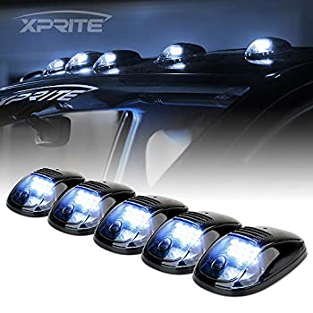 Xprite 12 LED White LED Cab Roof Top Marker Running Clearance Light Assembly for Ford Dodge Ram Trucks SUV POV Pickup Newest Version Black Smoked Lens 5 Pcs
