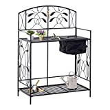 Outsunny Outdoor Folding Metal Potting Bench Work Table with Build-in Bag with Cover, 5 Hanging Hooks, & Open Shelf