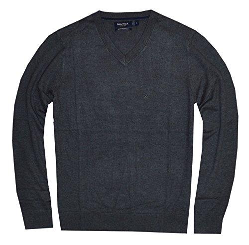 Nautica Men 12 Gauge Logo Classic V-Neck Sweater Pullover (M, Graphite Heather)