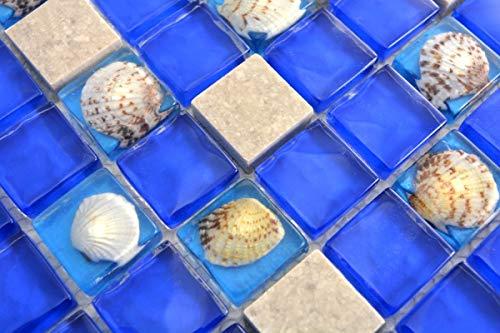Mosaikfliese Transluzent blau grau Glasmosaik Crystal Stein Muschel blau grau MOS82C-0402_m