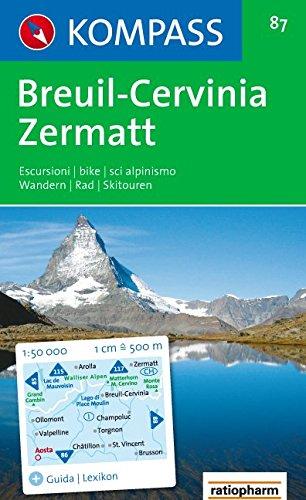 Carta escursionistica n. 87. Svizzera, Alpi occidentali. Breuil, Cervinia, Zermatt 1:50.000