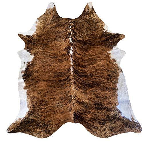 Teppich aus echtem Kuh-Leder Modell Pampas – Größe ca. 230 x 210 cm – Rindsleder Premium 100% Natur für Wohnzimmer, Schlafzimmer, Inneneinrichtung – Farbe Tiger, Größe 4 m²