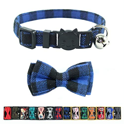 Cat Collar Breakaway with Bell and Bow Tie, Plaid Design Adjustable Safety Kitty Kitten Collars(6.8-10.8in) (Blue Plaid 2)