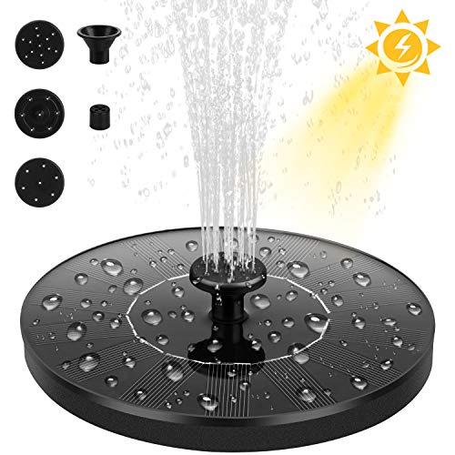 Dustgo Fontana da giardino esterno, Pompa per fontana solare con pannello solare galleggiante (con 4 ugelli), usato per fontana, piscina, giardino, stagno, decorazione del giardino
