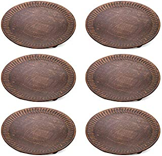 Hosley Set of 6 Copper Color Pillar Candle Plates 4 Inch Diameter. Ideal Gift for Wedding, Party, Spa, Coaster, Pedestal Stand, LED Candle O5