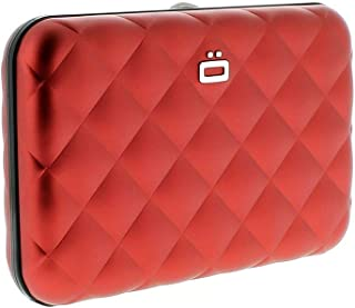 Women's Ogon Designs Red Aluminum Shell Quilted Button RFID Blocking Credit Card Wallet