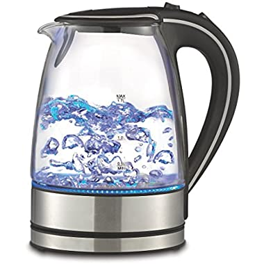 Royal 1.7L Cordless Glass Electric Hot Water Tea Kettle Blue LED Stainless Steel (50 oz, Black)