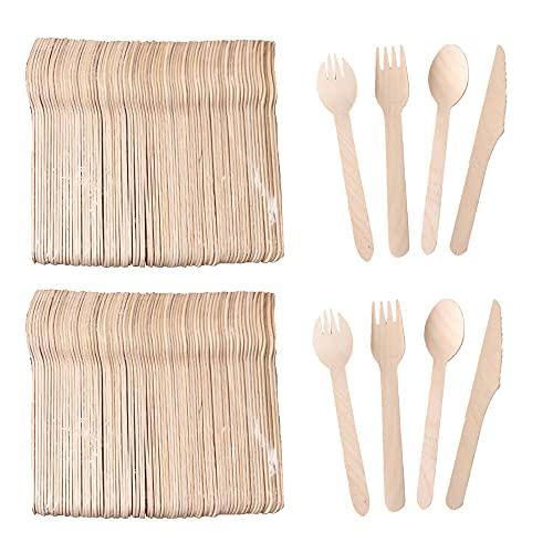 Mengger Posate biodegradabili in legno Usa e Getta naturale monouso compostabili per Festa Campeggio Picnic Barbecue Eventi (60 Pezzi coltelli forchette cucchiai) stoviglie