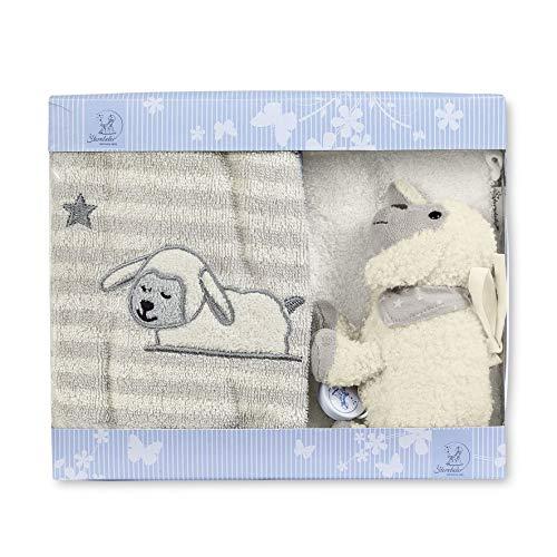 Sterntaler Coffret Cadeau Mouton Stanley, Mini Boîte À Musique, Gant de Toilette, Serviette Enfant, Âge : Dès 0 Mois, Gris / Blanc