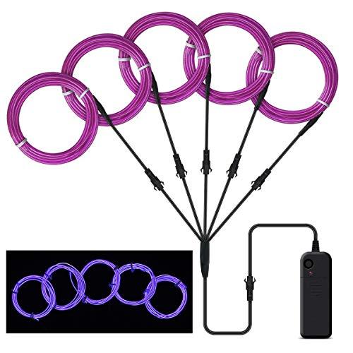 SATISFIED 5 x 1M Neon Beleuchtung Lila EL Wire Kabel,Neon Seil Lichter,flexible Neonlicht für DIY Weihnachtsfeiern Rave Partys Halloween Kostüm