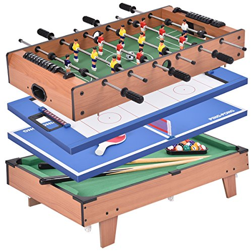 COSTWAY Multi Game Table, Combo Table with Football, Table Tennis, Air Hockey and Billiard, Wood Foosball Table Top for Game Rooms, Arcades, Bars, Parties (4 in 1)