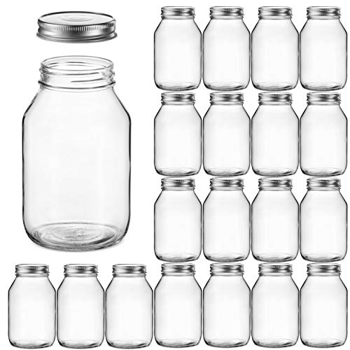 Glass Regular Mouth Mason Jars Glass Jars with Silver Metal Airtight Lids for Meal Prep Food Storage Canning Drinking Overnight Oats Jelly Dry Food Spices Salads Yogurt 20 Pack 32 Ounce
